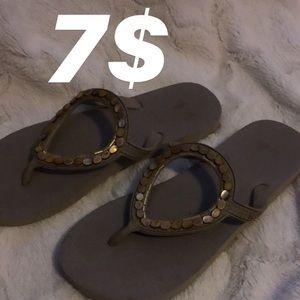 Shoes - Beaded flip flops